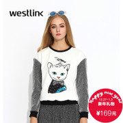 Westlink/West-fall 2015 new and leisure cat prints left rotator cuff contrast stitching women's Turtleneck Sweater