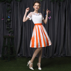 Europe summer dress new sunshine Orange vibrant striped retro and a pencil skirt high waist cute skirts casual 9152