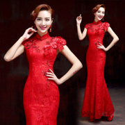 Chinese bridal toasting for 2015 new stylish spring/summer red lace cheongsam dress vintage modified-