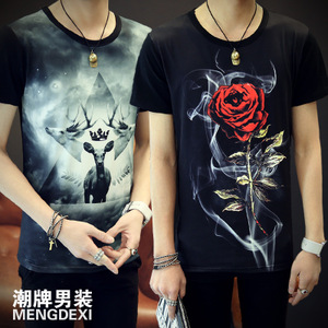 The summer male version short sleeved t-shirt t-shirt Shirt Mens Half Sleeve T-shirt printing T Korean Youth Summer thin T-shirt