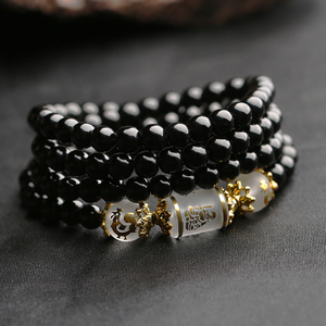 Korean version of the bead couple men's bracelet male obsidian personality hand string tide male wrist jewelry boys jewelry accessories