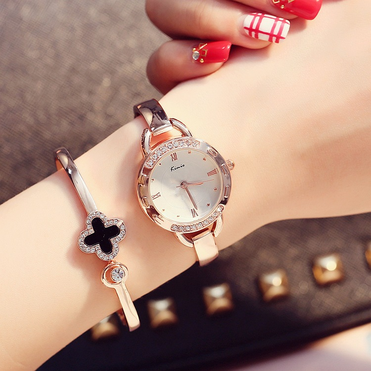 金米欧KIMIO 正品牌韩国潮流行优雅时尚链条奢华镶钻女士手表包邮