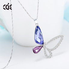 西黛尔采用施华洛世奇元素紫水晶蝴蝶吊坠925银项链女情人节礼物