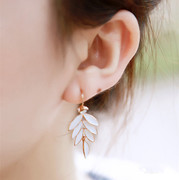Email Korea jewelry high quality fine white leaf qualities women summer night earrings earring earring