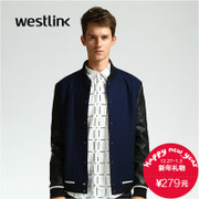 Westlink/West New 2015 winter short bi-color hard leather baseball shirt jacket men's coat