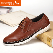 Red Dragonfly leather men's shoes, spring 2015 new authentic leisure breathable wear laced shoes