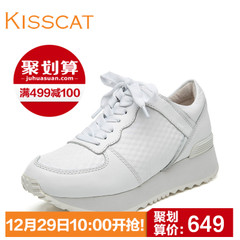 KISS CAT/kiss the cat fashion leather casual sneaker head thick-soled tie shoes D55784-01SC