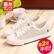 What sneakers women's shoes low cut lace flat cloth dot breathable casual shoes fall 2015 new