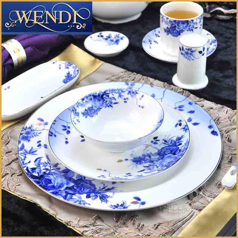 中式酒店餐具陶瓷摆台餐厅饭店厨房用品饭碗汤碗菜盘汤盘碟子筷架
