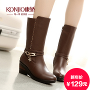 KONJIO/Kang Jiao in autumn/winter new products shoes wedges winter boots side zipper with round head in casual boots