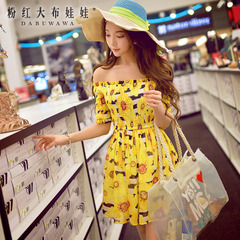 Horizontal neck dress big pink doll 2015 Lady light printing open shoulders high waist slimming dresses