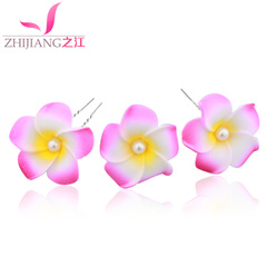 Zhijiang frangipani hair simulation flower u-clamp insert Hairpin Beach flower hair accessory Korea bridesmaid flower