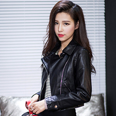 QUEENZZ American and European celebrities wind of spring new sexy Joker lapel leather jacket cropped female punk locomotive WT253