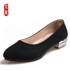 Beijing spring morning new old Beijing cloth shoes ladies fixtures shallow metal chunky heels shoes are comfortable and breathable casual shoes