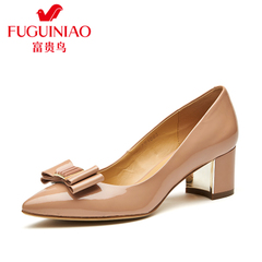 Fuguiniao shoes women bow with pointed shoes in shallow thick leather shoes work shoes women