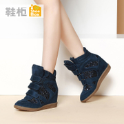 Shoebox shoe 2015 higher winter flows in the Korean version of casual shoes with Velcro to keep warm with round head high women's boots