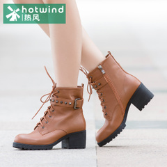 Hot winter booties tide girls British wind band new rivets thick with short tube women boots 75H5960