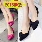 New 2016 bow sweet female summer shoes asakuchi in tipped thick red wedding shoes leisure shoes