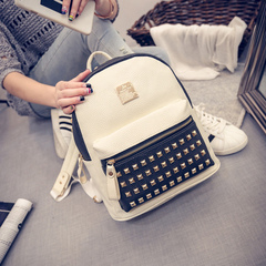Beauty is about shoulder bags woman bags fall 2015 new rivet bag color street fashion backpack bag student bag