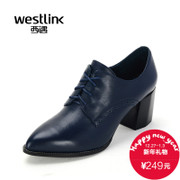 West fall 2015 new leisure deep mouth shoe coarse with pointy lace carved shoes leather high heel shoes