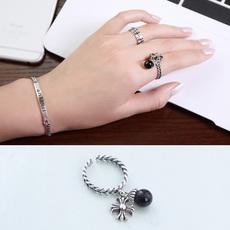 天使之愿925银食指戒指女韩国个性做旧复古十字架开口指环装饰品
