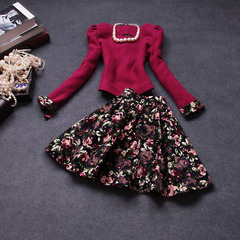 Autumn/winter 2014 the new Europe and the retro color in autumn and winter fashion dress wool suits long sleeve dress #