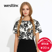 Westlink/West fall 2015 the new Joker black and white printed short sleeve women t-wave ladies short sleeve t-shirt