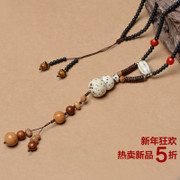 Ancient bodhi tree vine ethnic necklaces natural Qian eyes gourd lovers necklace sweater chain cotton and linen accessories