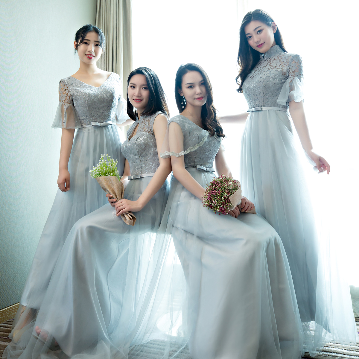 Bridesmaid Dress 2017 long summer style Chinese style trumpet sleeve ...