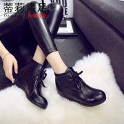 Tilly cool foot 2015 fall/winter trends the first layer leather rhinestones high and bare boots short boots women tie Martin boots