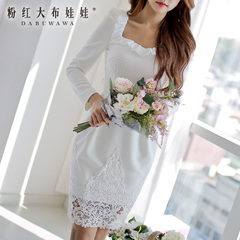 Long sleeve dress big pink rag doll woman 2015 summer white with ruffled lace diamond collar dress