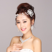 Nice necklace set of three pretty long he found himself a Korean bride wedding dress wedding tiara earrings accessories
