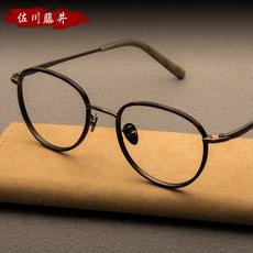 佐川藤井复古圆框眼镜框男 可配成品近视眼镜架女 平光镜纯钛眼镜