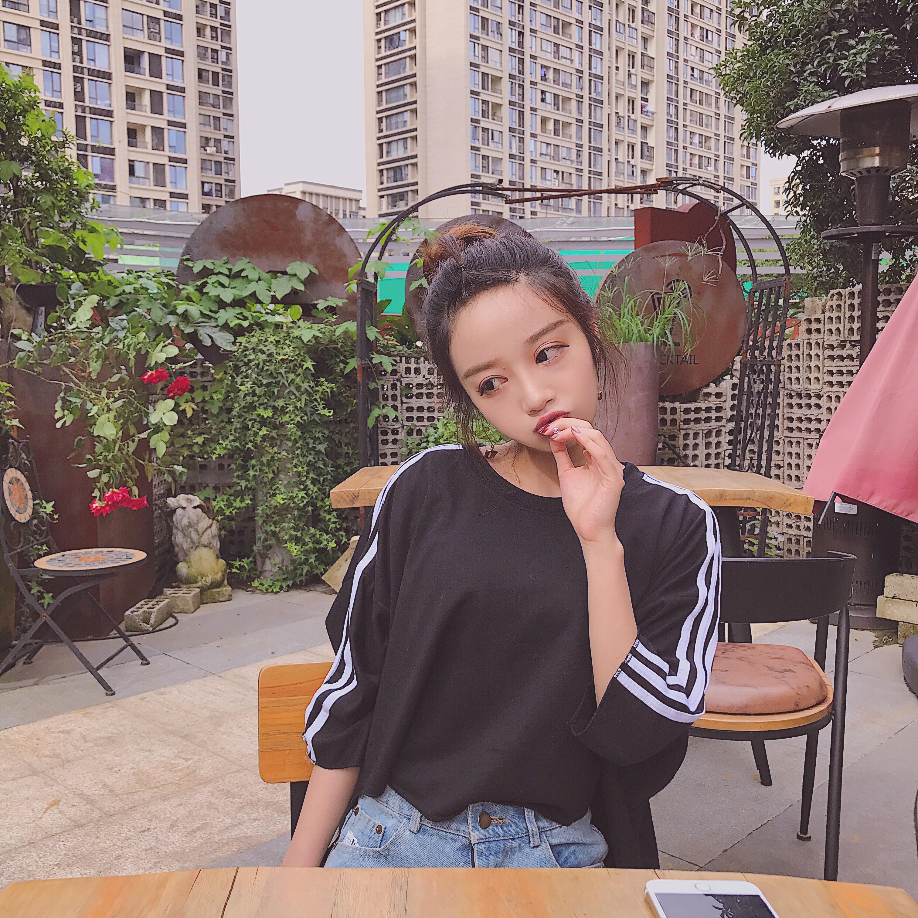 夏季女装2017新款韩版宽松港味短袖上衣原宿BF风七分袖T恤女学生
