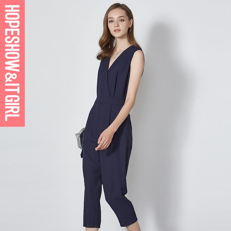 红袖2016夏装新款女装时尚修身连体裤百搭休闲裤长裤女E6201J001