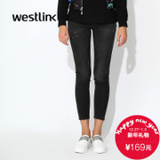 Westlink/West fall 2015 new black casual jeans slim female feet pencil trousers pants