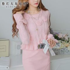 Cropped sweater pink doll 2015 spring new style blouses Korean thin knitted pullover