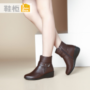 Winter casual leather buckle boot shoe shoebox2015 tide simple wedges women boots 1115607298