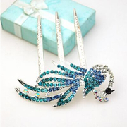 Fine jewelry fashion beautiful Peacock Phoenix TOU Shui diamond comb hair jewelry Combs inserting H040