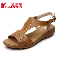 YEARCON/er Kang shoes new 2015 summer cool undid the mother comfortable flat shoes real leather women shoes