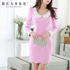 Summer dress big pink cloth doll 2015 new ladies neck long sleeve dress Lady