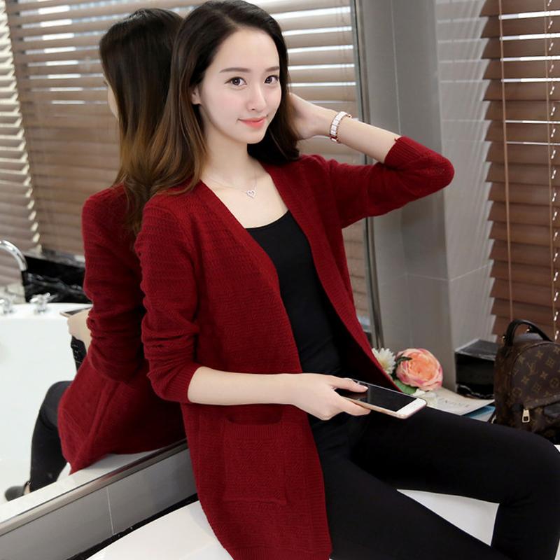 2017秋装新款韩版镂空针织开衫女外搭中长款长袖毛衣宽松大码外套