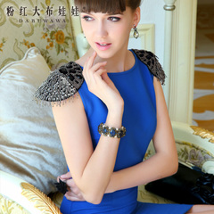 Dresses pink doll summer 2015 new dresses, Royal Blue nail gun-color epaulets temperament