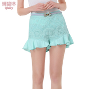 Fine bi Linda 2015 spring/summer new women European embroidery organza splice flounces Joker high waist shorts