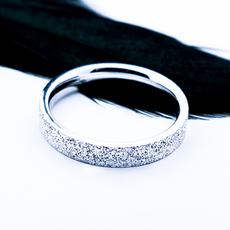 天街雨素雅磨砂925银戒指 简约时尚日韩版钉沙男女情侣对戒刻字