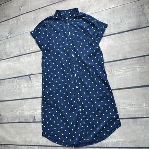 欧美风大码显瘦纯棉短袖衬衫连衣裙