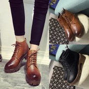 Autumn 2015 British style vintage flat shoes women thick with thick-soled tie Martin boots and ankle boots booties tides