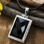 Thai natural atmospheric square black Onyx pendant in 925 Silver carnelian gemstone pendant wave