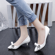 Summer 2015 new years sweet female stiletto pointy shoes in white patent leather bow shoes