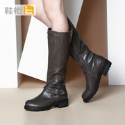 Trendy shoe shoebox 2015 winter boots flat heel high boots with round head 1115607077